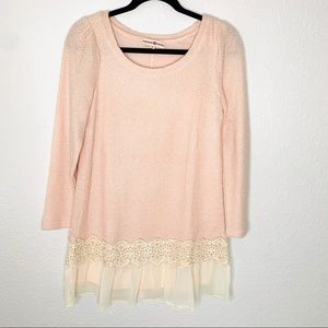 Altar'd State Long Sleeve Pink Sweater Dress Small